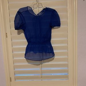 Blue blouse silk sheer Broadway & Broome top